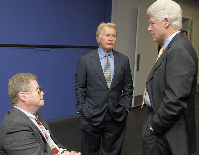Mitchell speaks to Bill Clinton and Martin Sheen